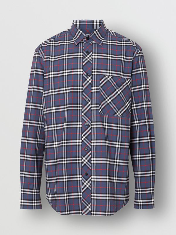 Small Scale Check Stretch Cotton Shirt in Carbon Blue - Men | Burberry - cell image 3