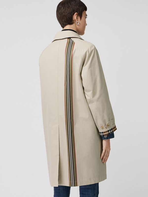 Striped Ribbon Cotton Gabardine Car Coat in Stone - Women | Burberry - cell image 2