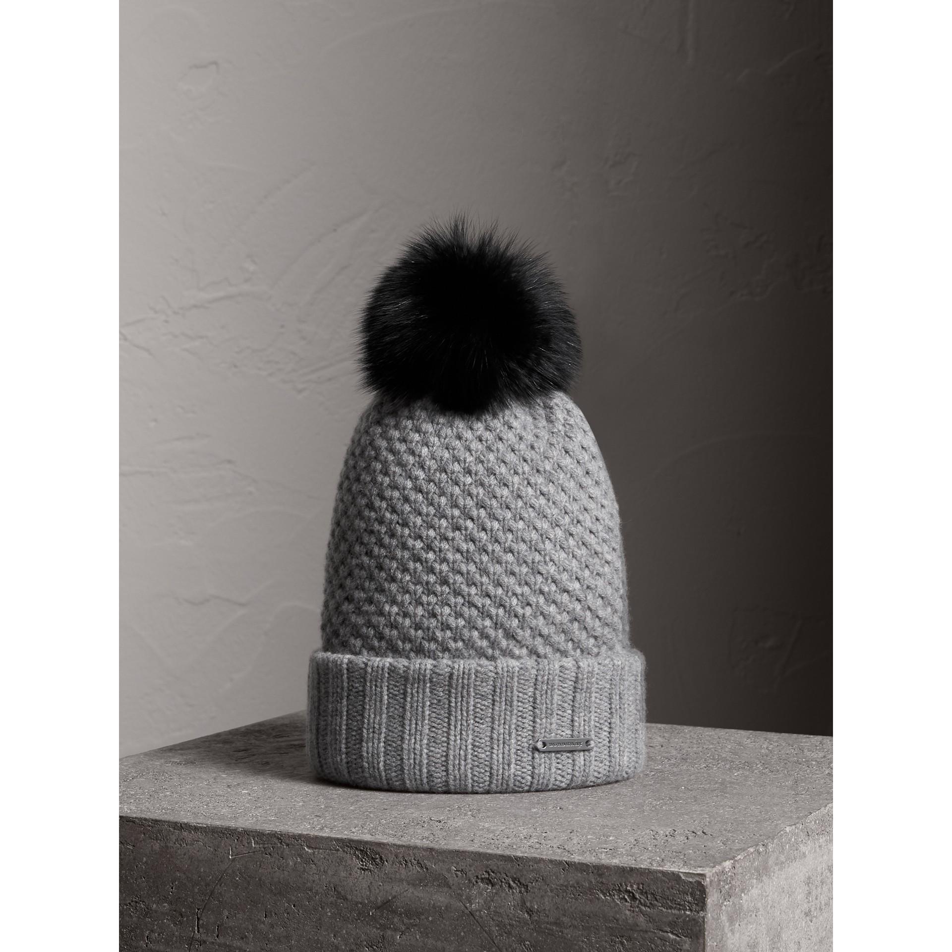 Fur Pom-Pom Beanie in Mid Grey - Women | Burberry - gallery image 1