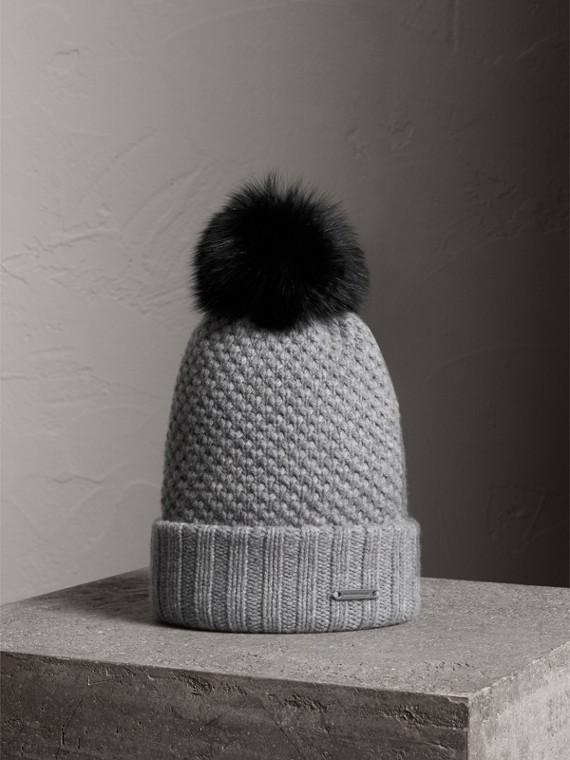 皮草絨球套頭帽 (中灰色)