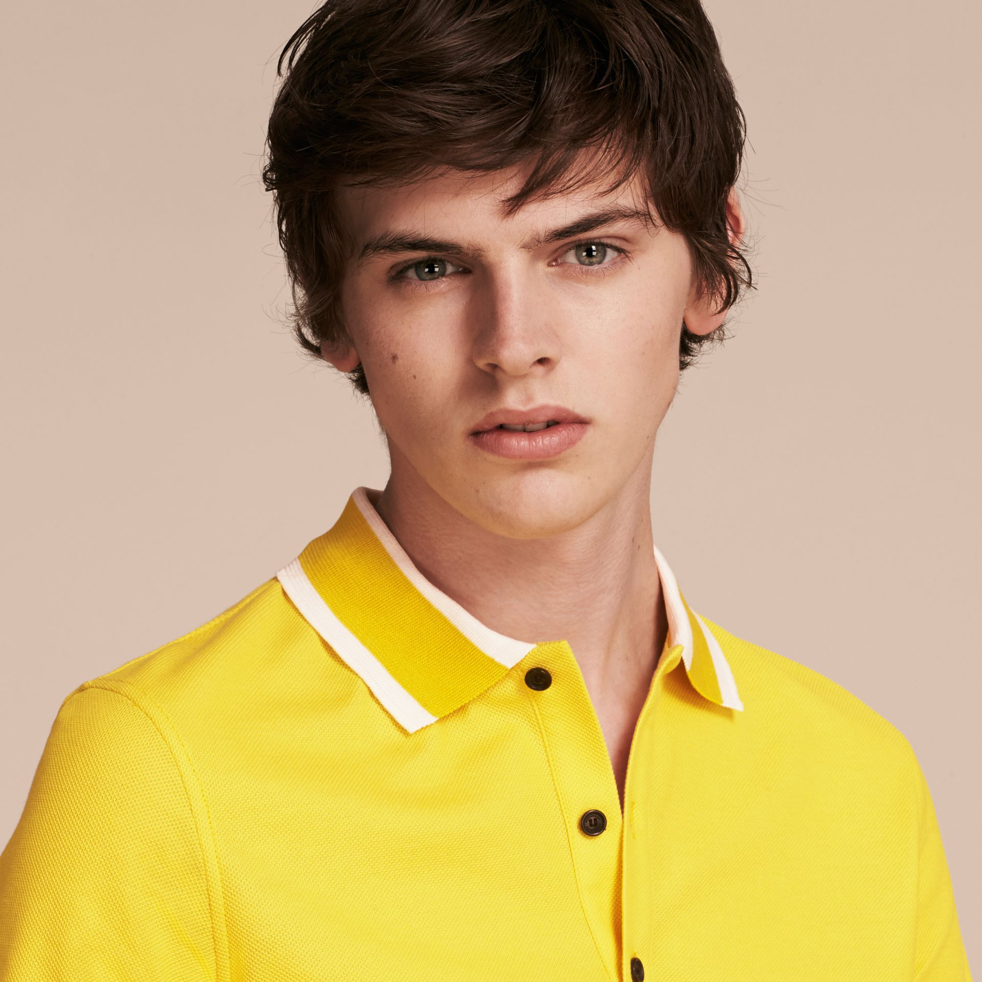 Striped Collar Cotton Piqué Polo Shirt in Daffodil - gallery image 5