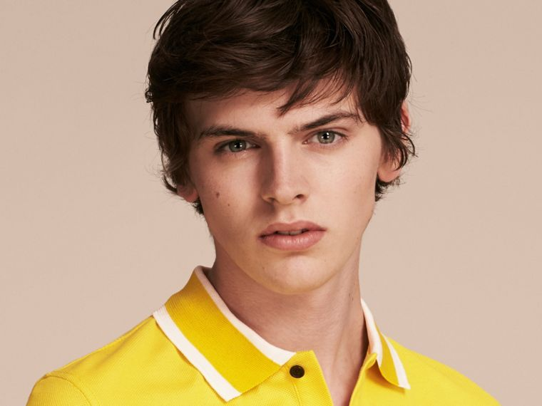 Striped Collar Cotton Piqué Polo Shirt in Daffodil - cell image 4