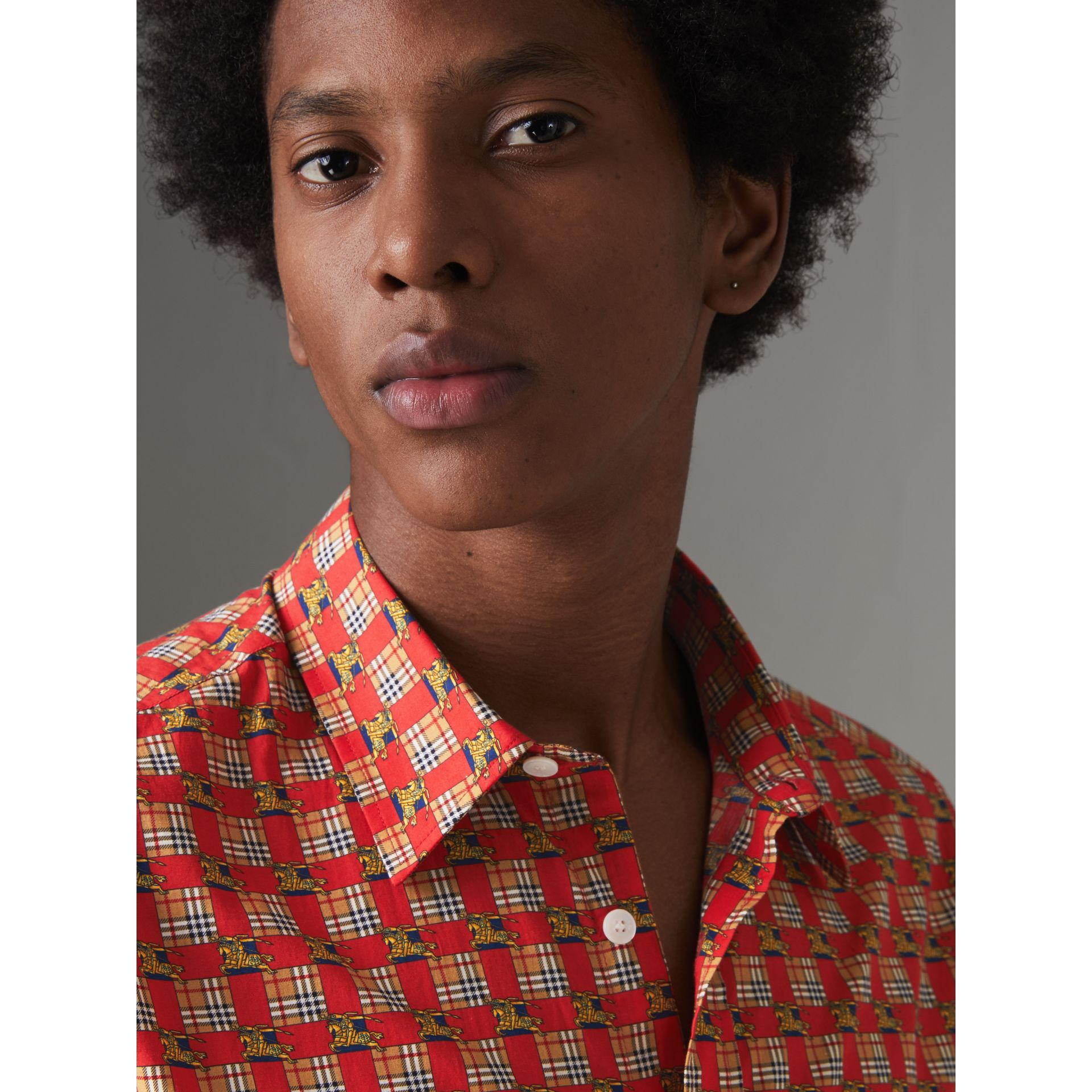 Tiled Archive Print Cotton Shirt in Bright Red - Men | Burberry United Kingdom - gallery image 1