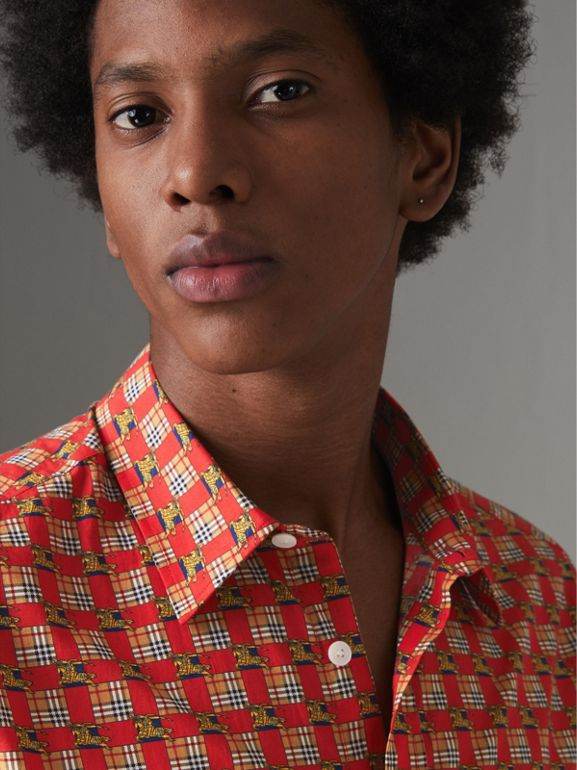 Tiled Archive Print Cotton Shirt in Bright Red - Men | Burberry United Kingdom - cell image 1