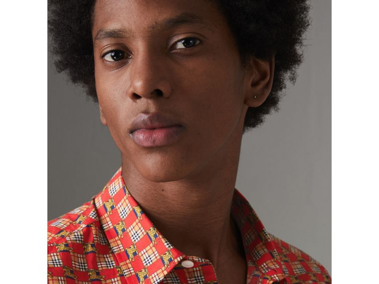 Tiled Archive Print Cotton Shirt in Bright Red - Men | Burberry Canada - cell image 1