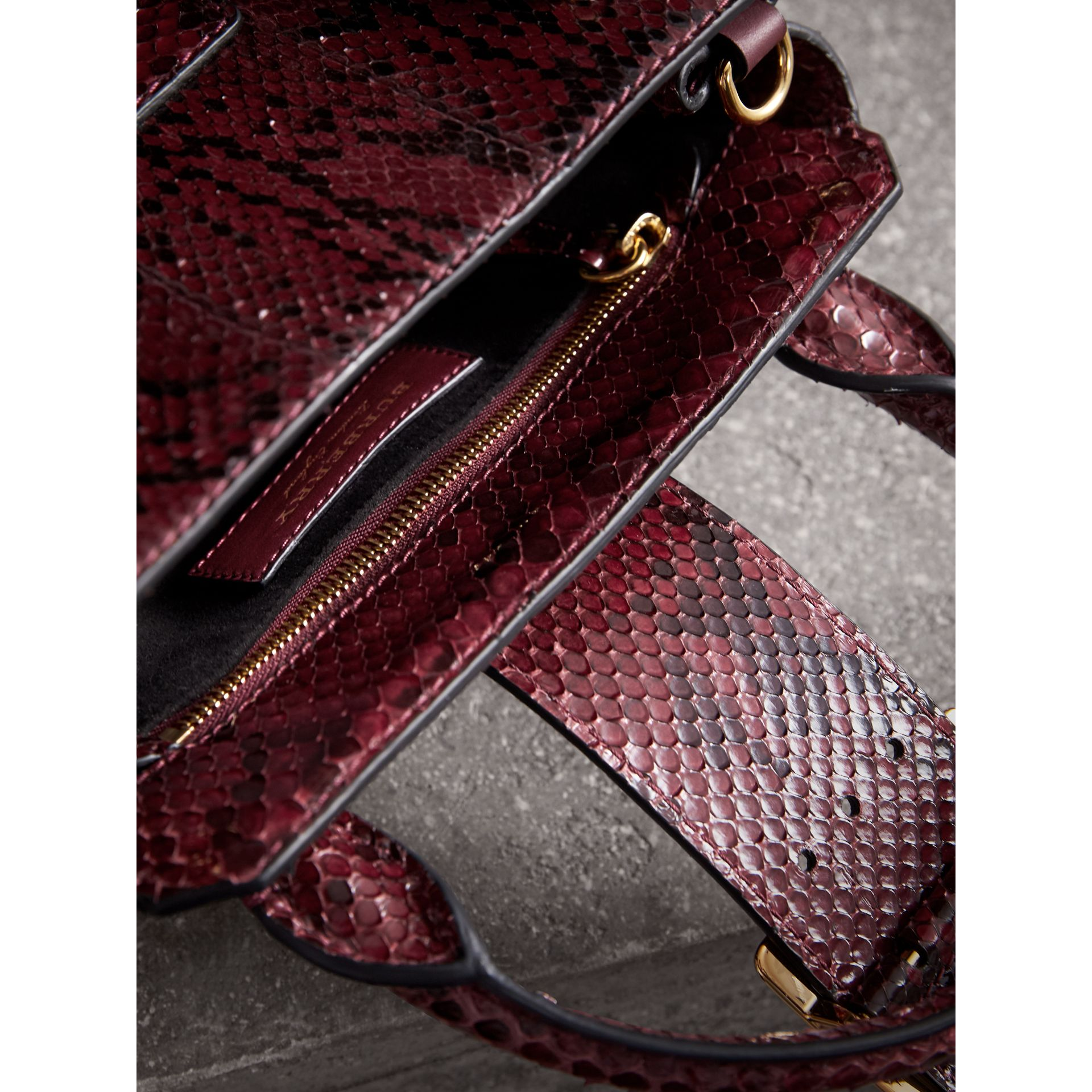 The Small Buckle Tote in Python in Burgundy Red - Women | Burberry - gallery image 5