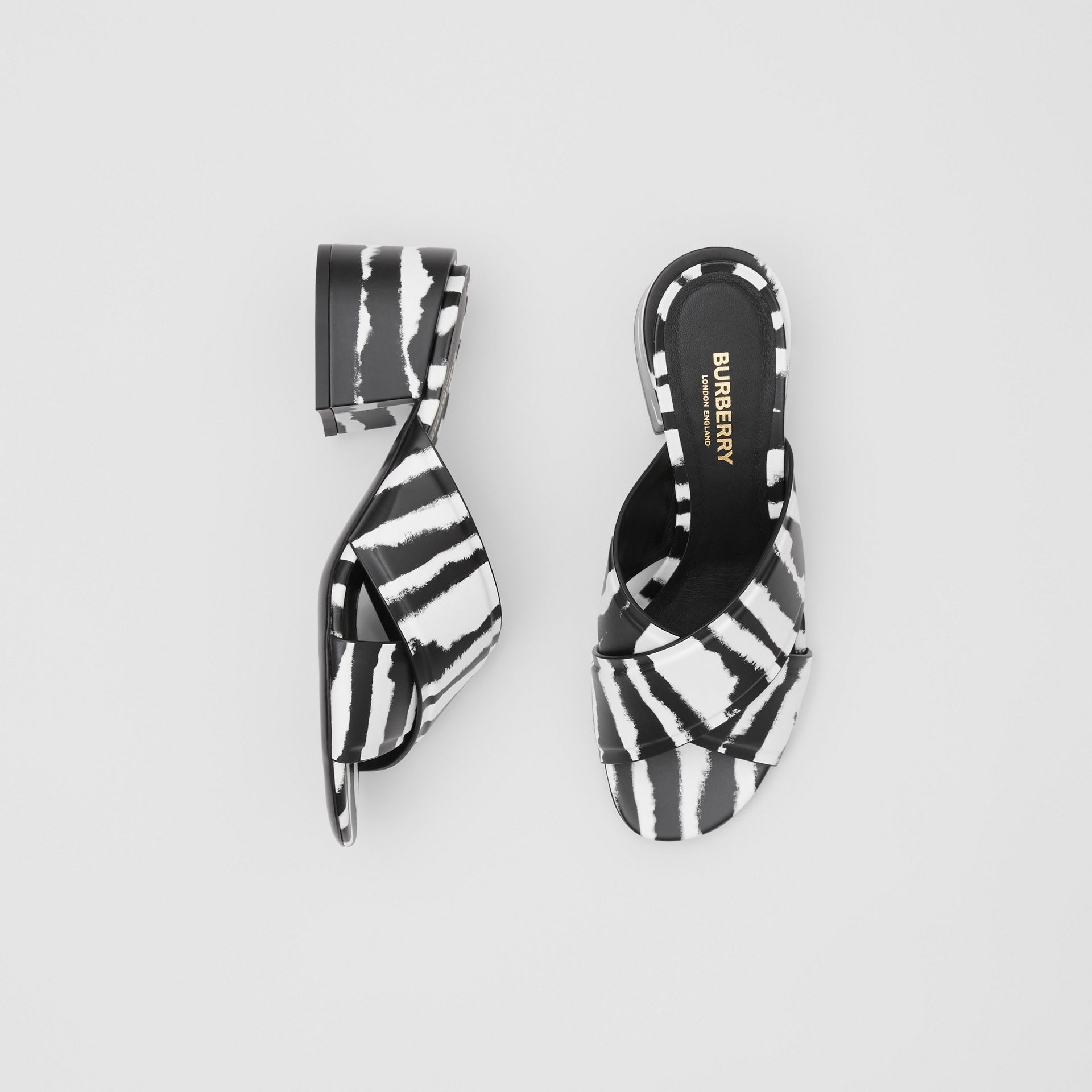 Watercolour Print Leather Block-heel Sandals in Black/white - Women | Burberry United States - gallery image 0
