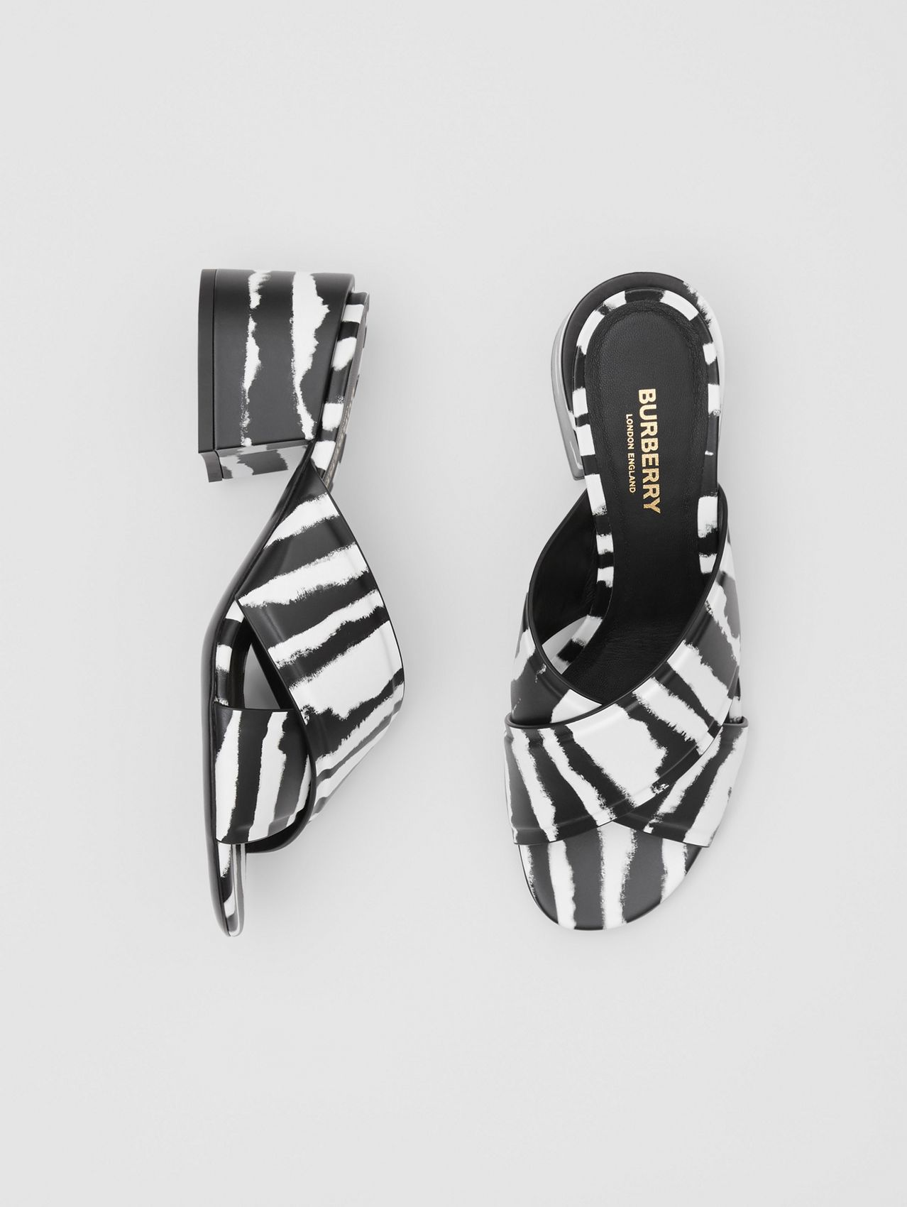 Watercolour Print Leather Block-heel Sandals in Black/white