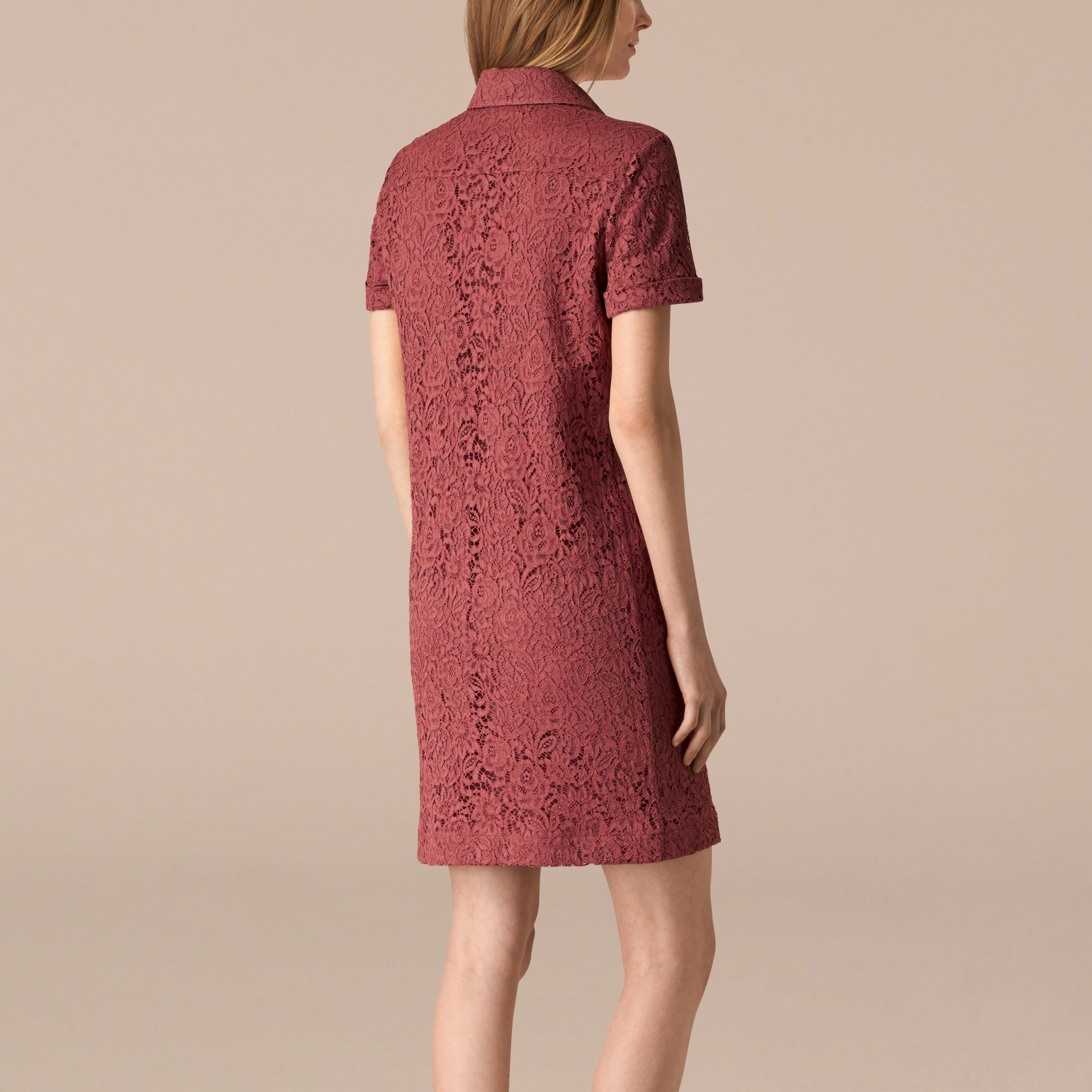 Mauve pink Floral Italian Lace Shirt Dress - gallery image 2