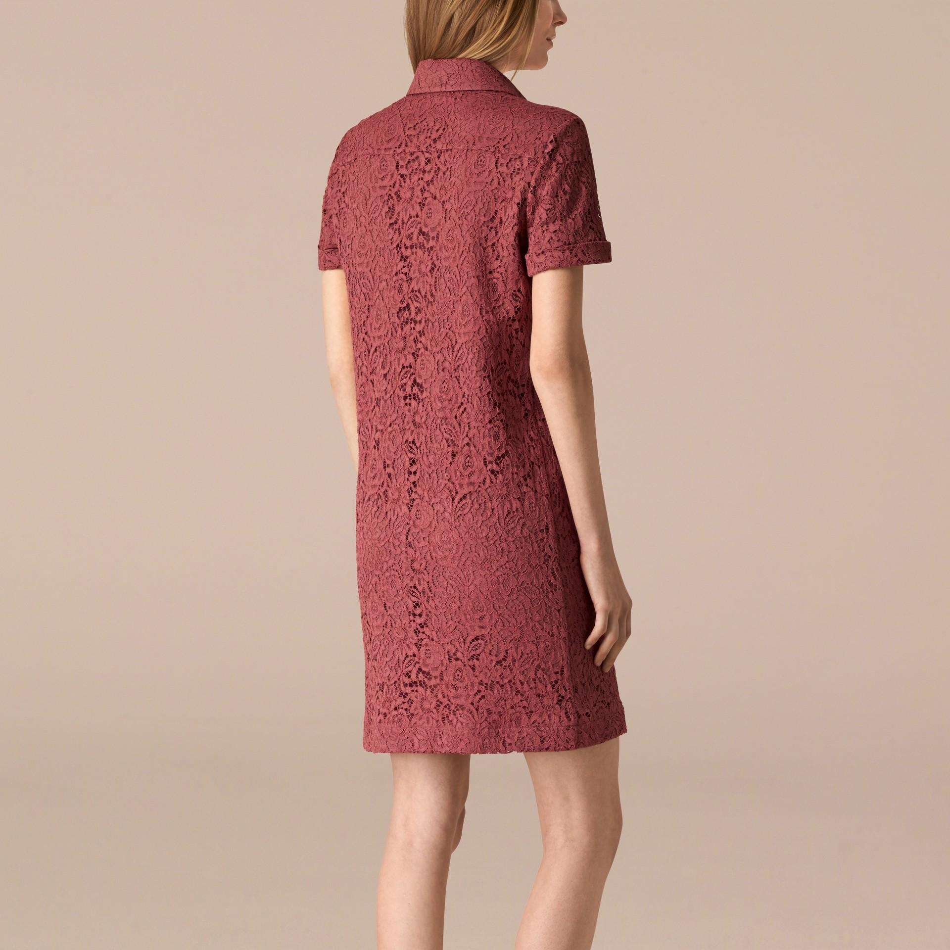Mauve pink Vestido camisa de renda floral italiana - galeria de imagens 2