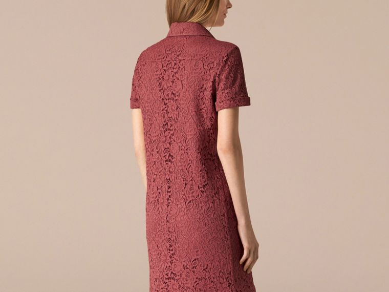 Mauve pink Floral Italian Lace Shirt Dress - cell image 1