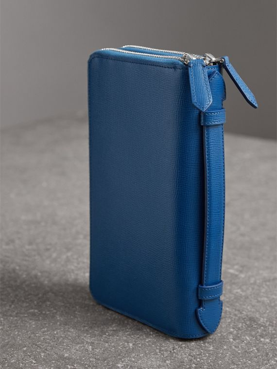 London Leather Travel Wallet in Deep Blue | Burberry Singapore - cell image 2