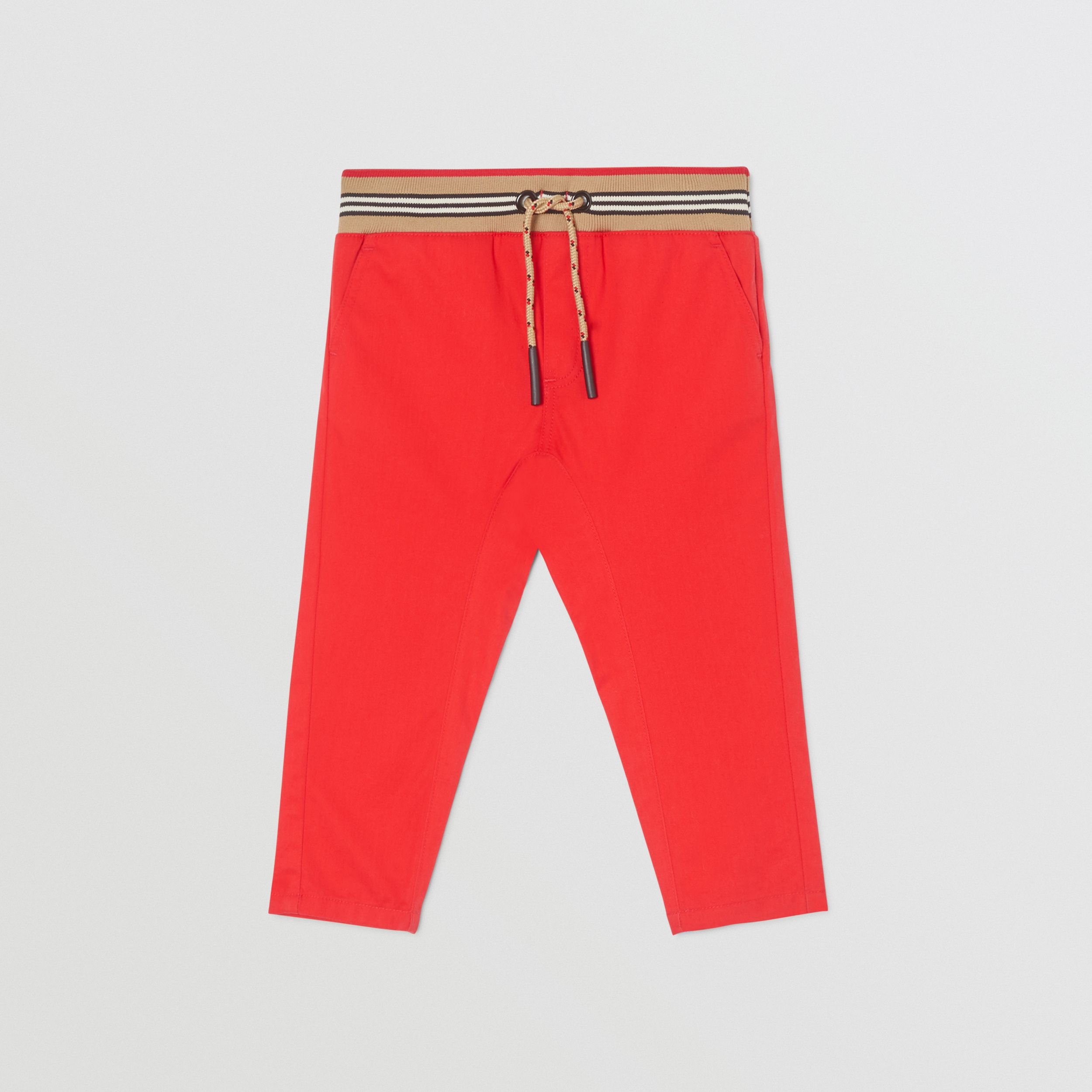 Icon Stripe Detail Cotton Twill Drawcord Trousers in Bright Red - Children | Burberry - 1