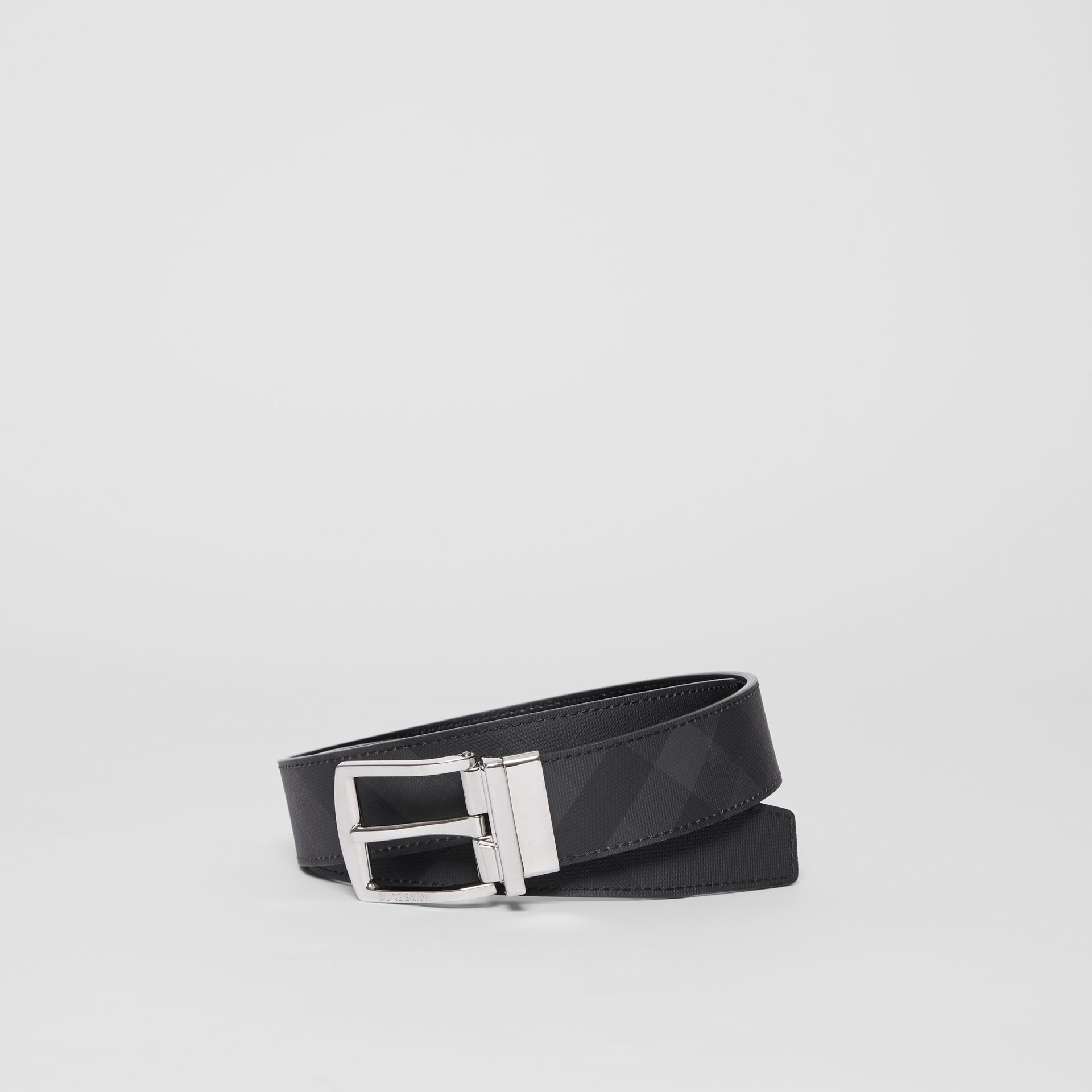 Reversible London Check and Leather Belt in Dark Charcoal/black - Men | Burberry Australia - gallery image 0