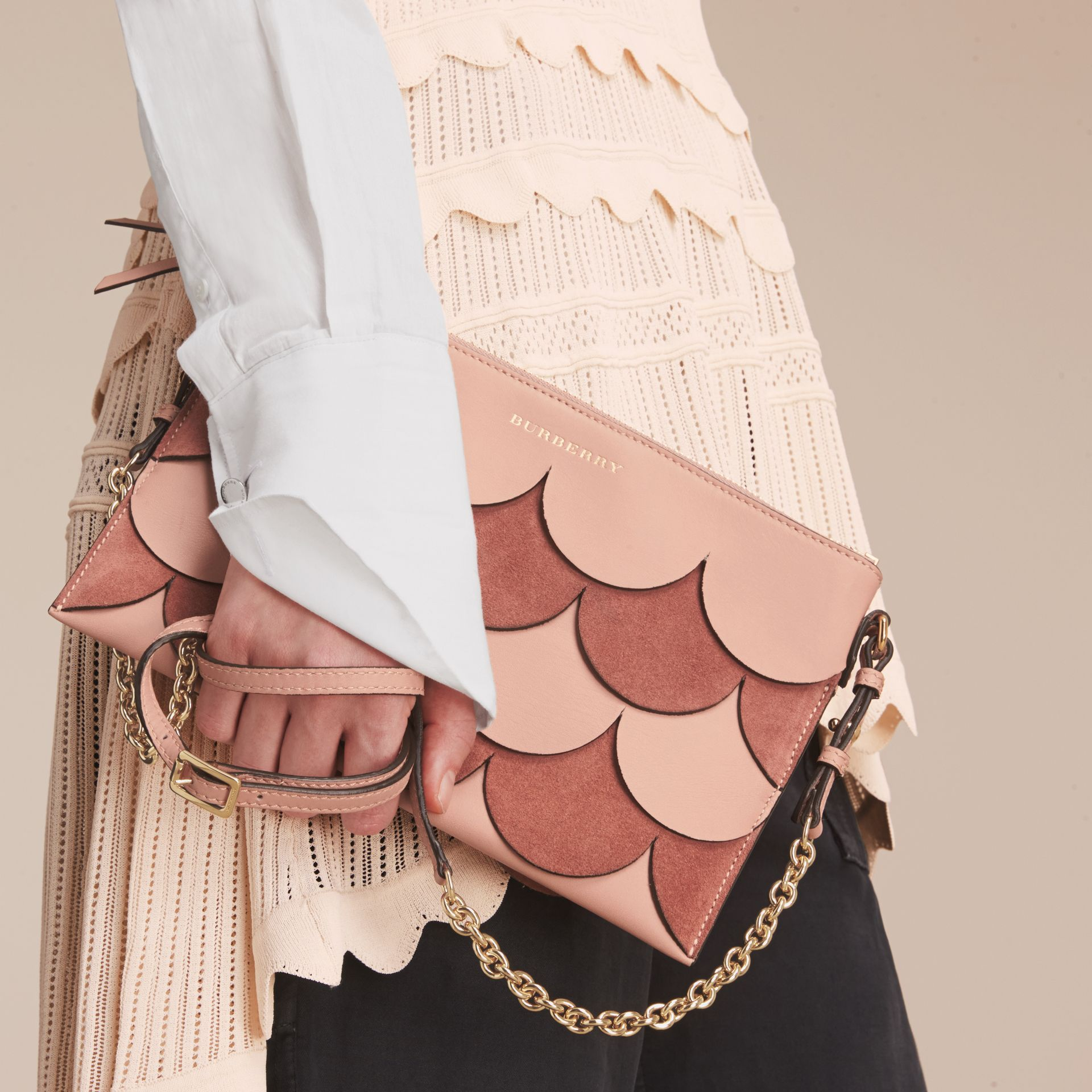 Two-tone Scalloped Leather and Suede Clutch Bag in Ash Rose - Women | Burberry - gallery image 3