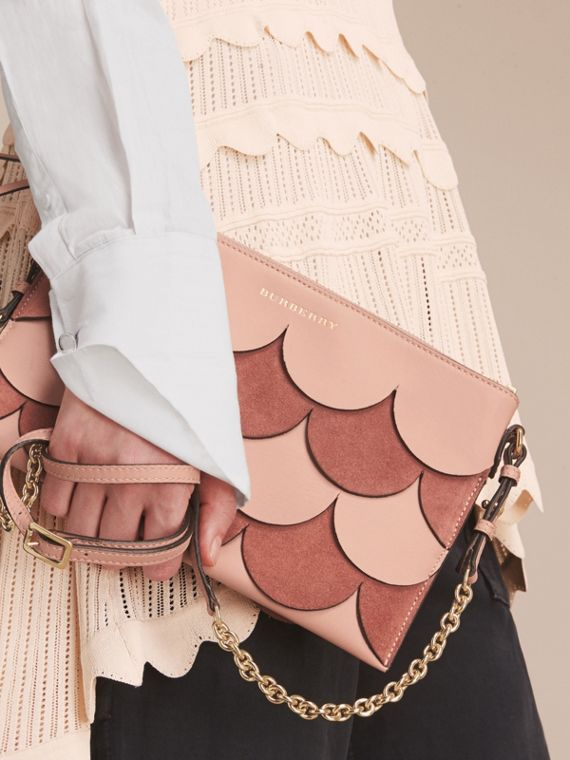 Two-tone Scalloped Leather and Suede Clutch Bag in Ash Rose - Women | Burberry Australia - cell image 2