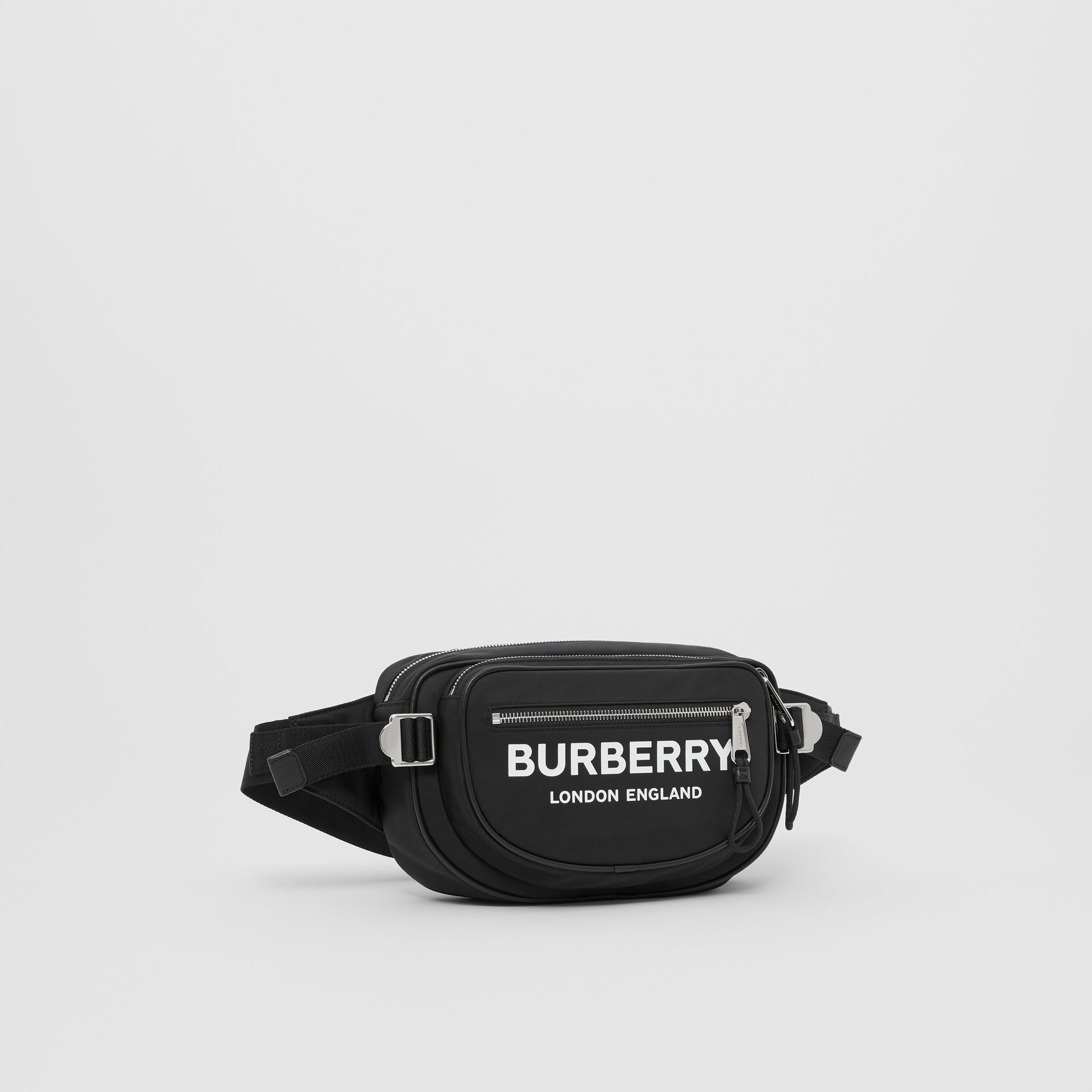 Medium Logo Print ECONYL® Cannon Bum Bag in Black - Men | Burberry United Kingdom - gallery image 8