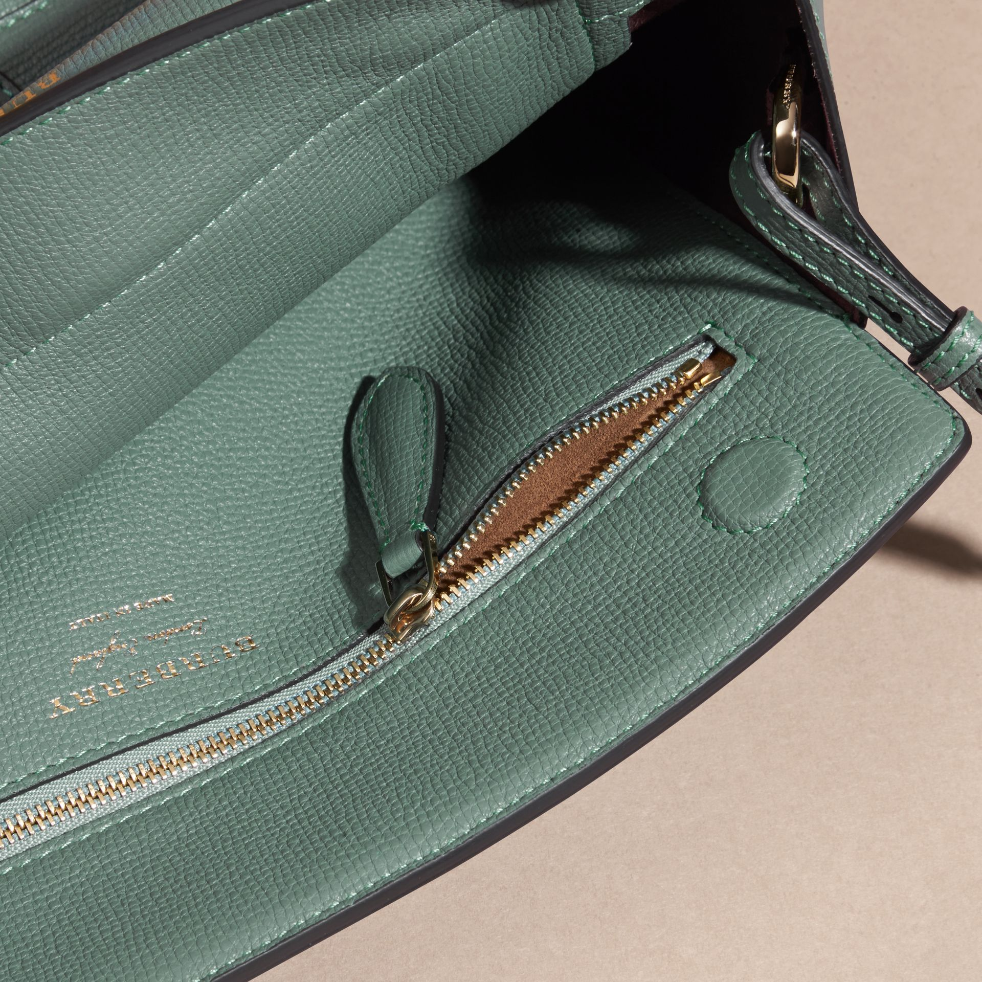Smokey green The Saddle Clutch in Grainy Bonded Leather Smokey Green - gallery image 5
