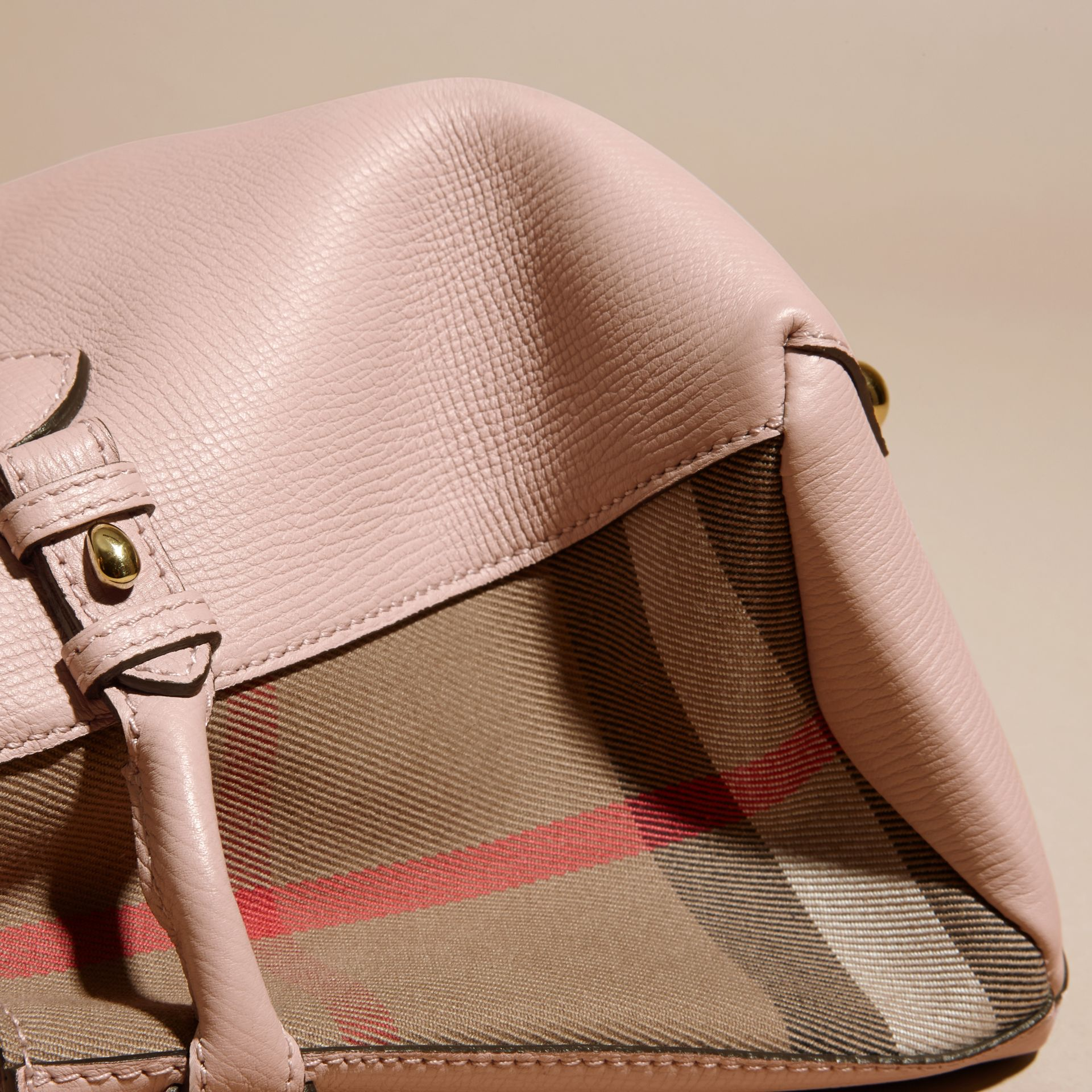 The Baby Banner in Leather and House Check in Pale Orchid - Women | Burberry - gallery image 6