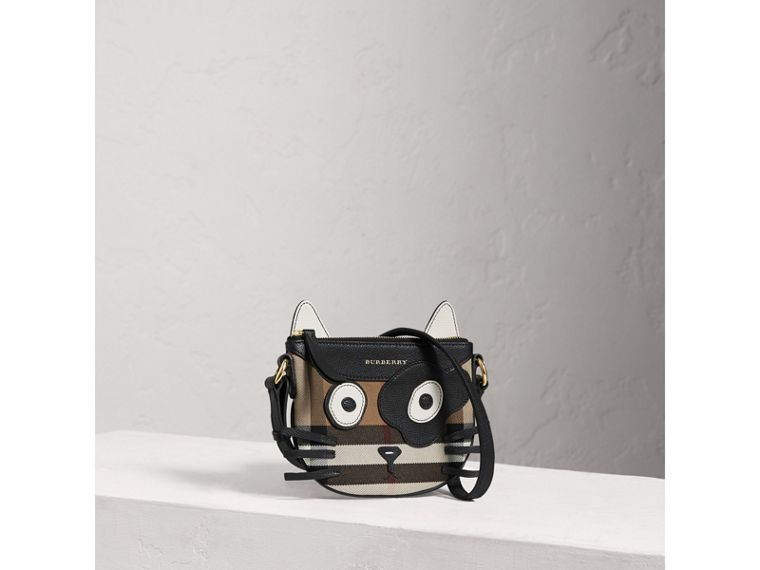 Cat Motif Leather and House Check Crossbody Bag in Black - Girl | Burberry - cell image 4