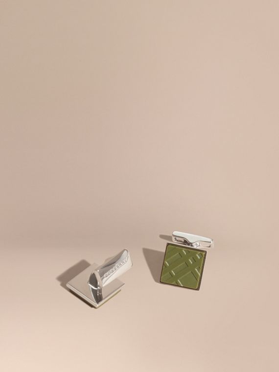 Check-engraved Square Cufflinks Antique Green