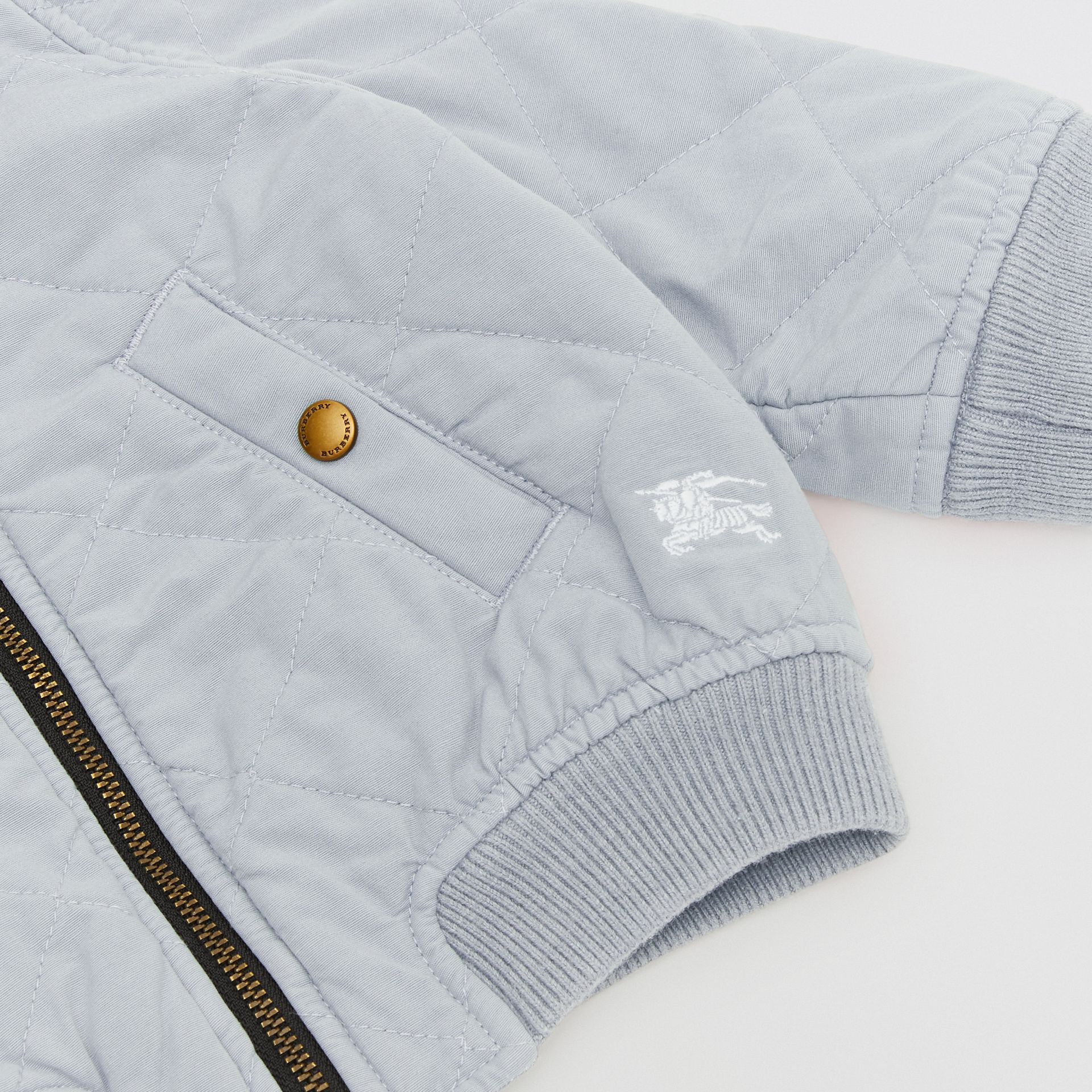 Diamond Quilted Cotton Hooded Jacket in Dusty Blue - Children | Burberry United Kingdom - gallery image 1