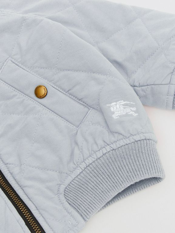 Diamond Quilted Cotton Hooded Jacket in Dusty Blue - Children | Burberry - cell image 1