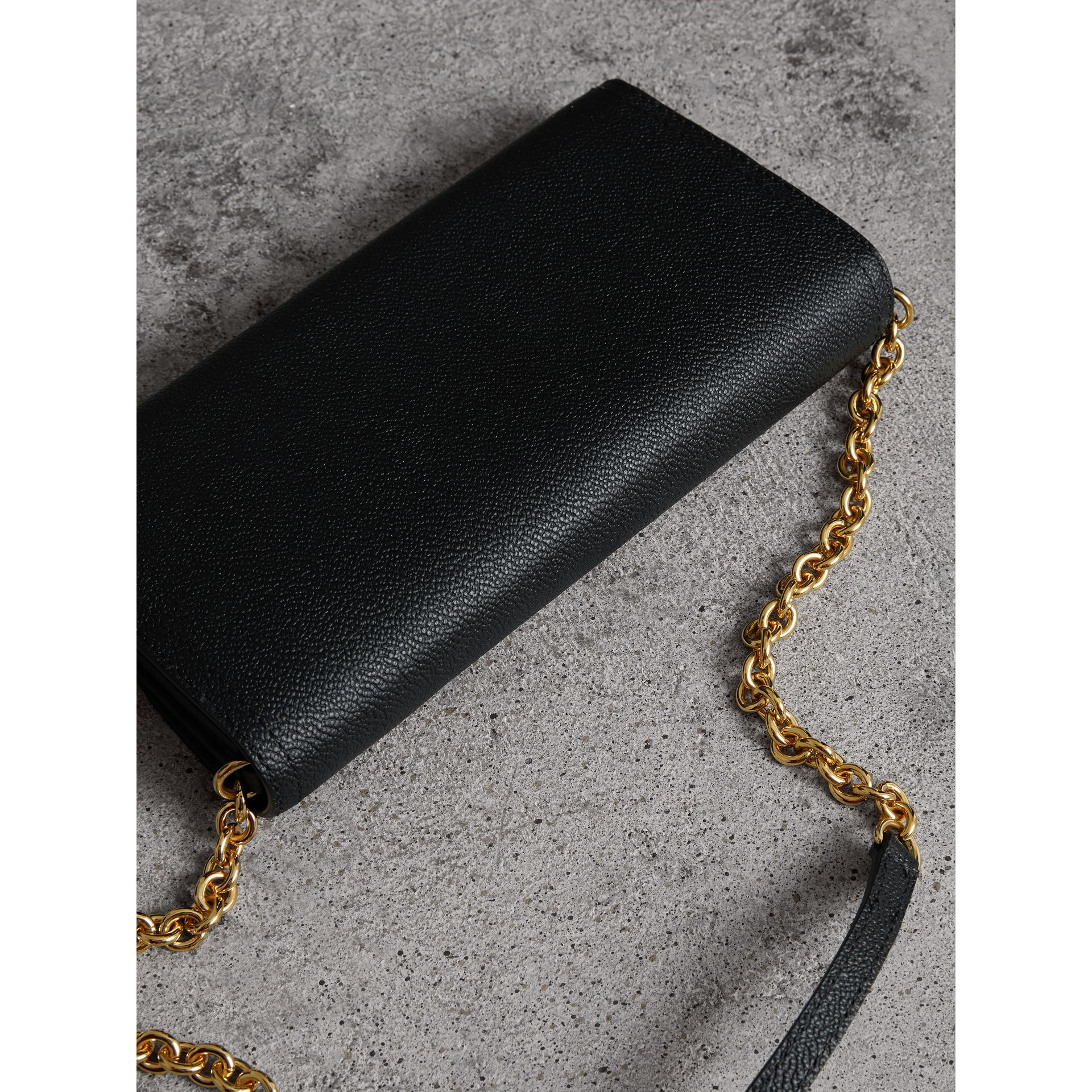 Leather Wallet with Chain in Black - Women | Burberry - gallery image 4
