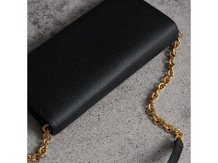 Leather Wallet with Chain in Black - Women | Burberry Canada - cell image 4