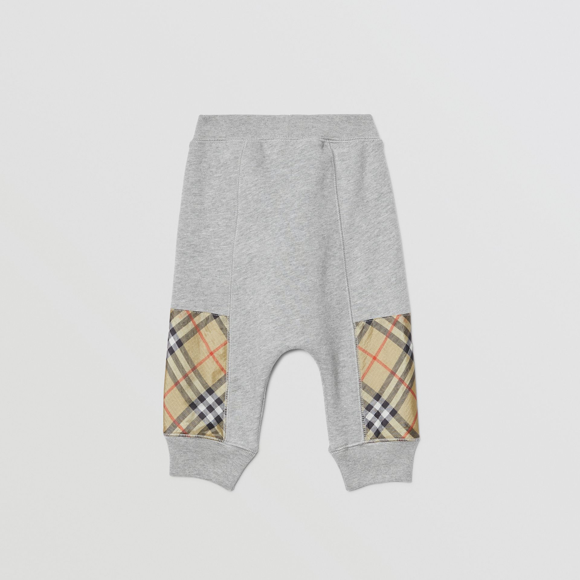 Vintage Check Panel Cotton Trackpants in Grey Melange - Children | Burberry - gallery image 3