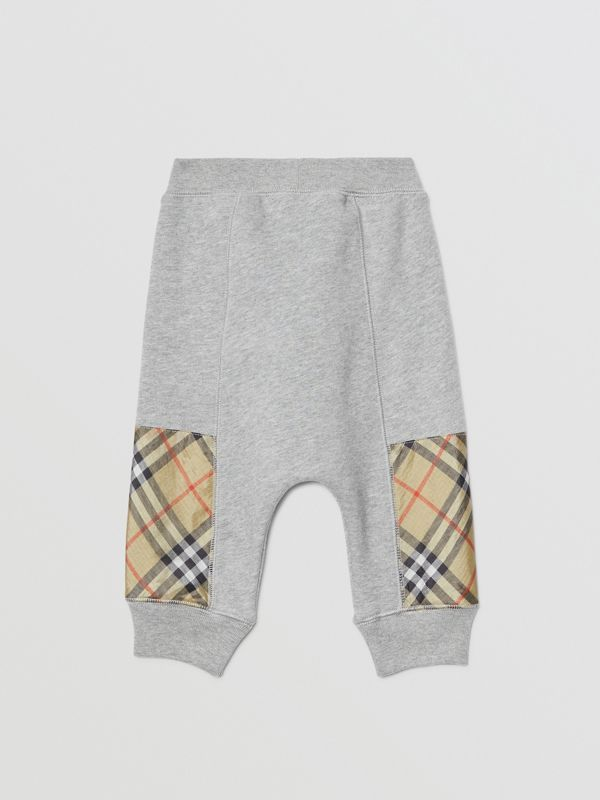 Vintage Check Panel Cotton Trackpants in Grey Melange - Children | Burberry - cell image 3