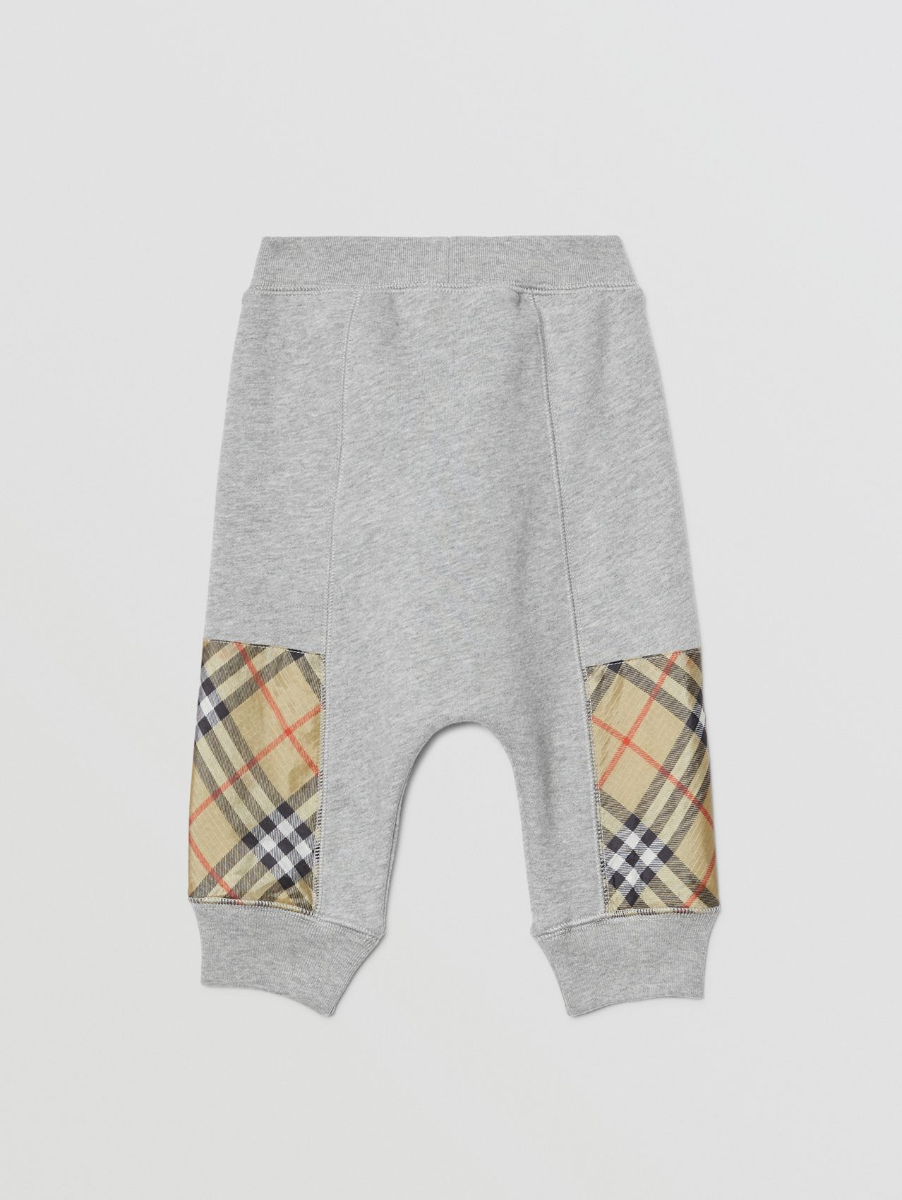 Vintage Check Panel Cotton Trackpants in Grey Melange