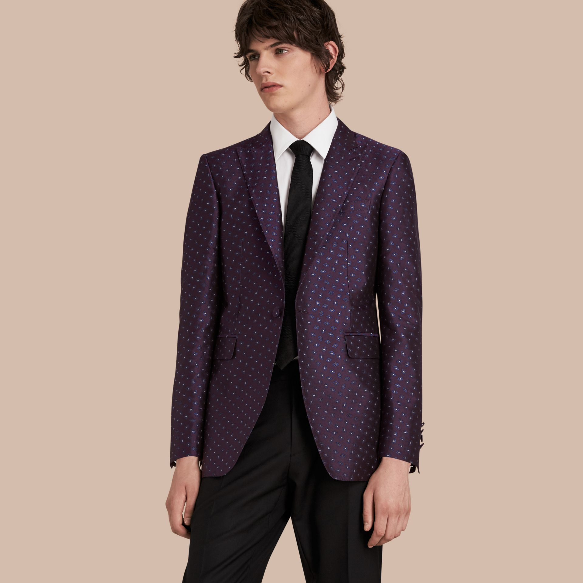 Deep aubergine Slim Fit Geometric Silk Jacquard Tailored Jacket - gallery image 1