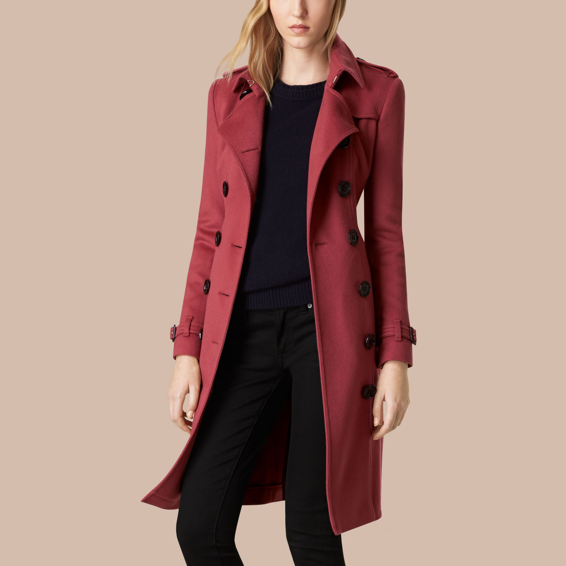 Dusty peony rose Sandringham Fit Cashmere Trench Coat Dusty Peony Rose - gallery image 6