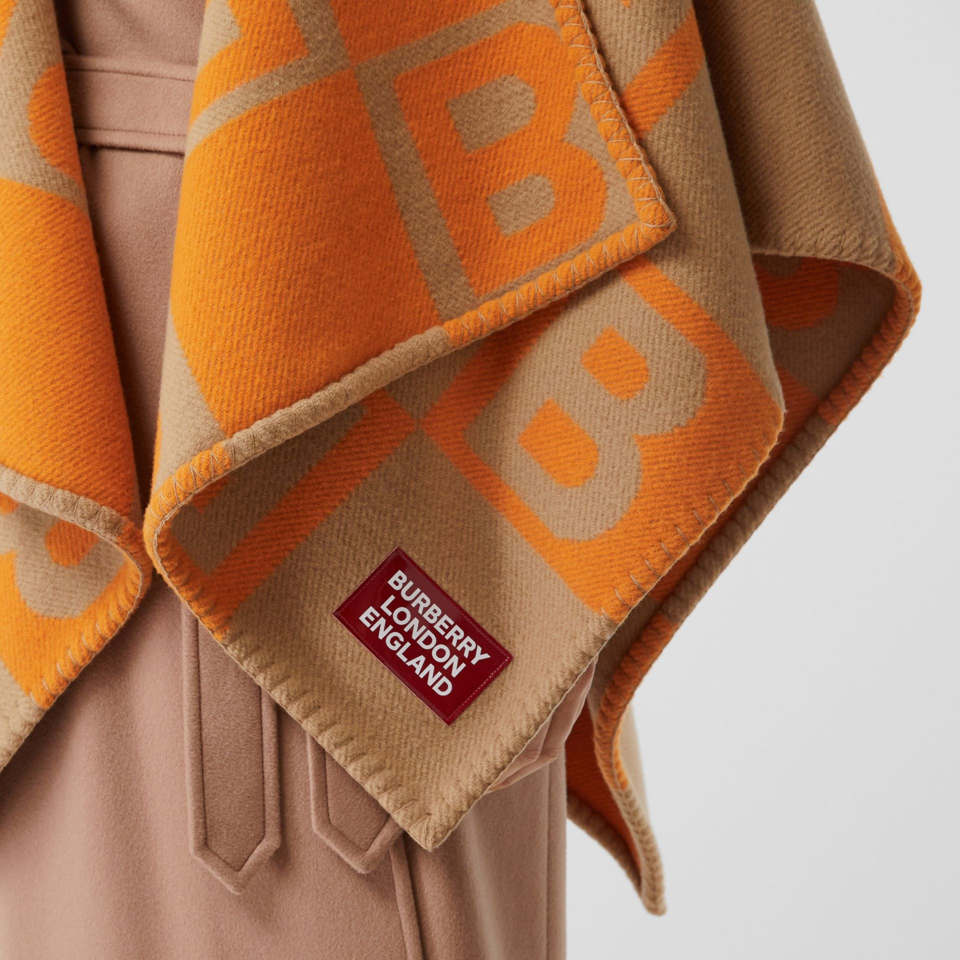 B Motif Merino Wool Cashmere Cape in Orange - Women | Burberry - gallery image 1