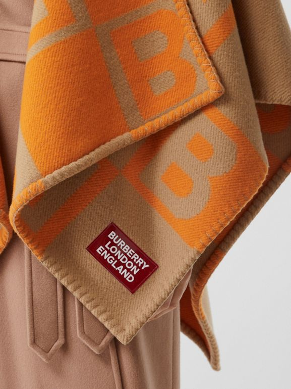 B Motif Merino Wool Cashmere Cape in Orange - Women | Burberry - cell image 1