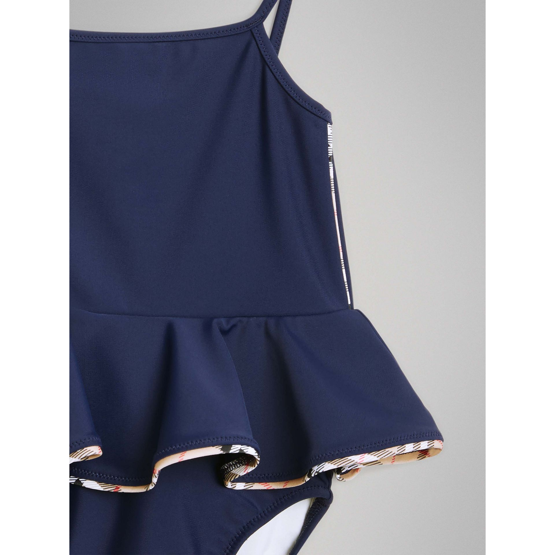 Check Detail Peplum One-piece Swimsuit in Navy - Children | Burberry United Kingdom - gallery image 4