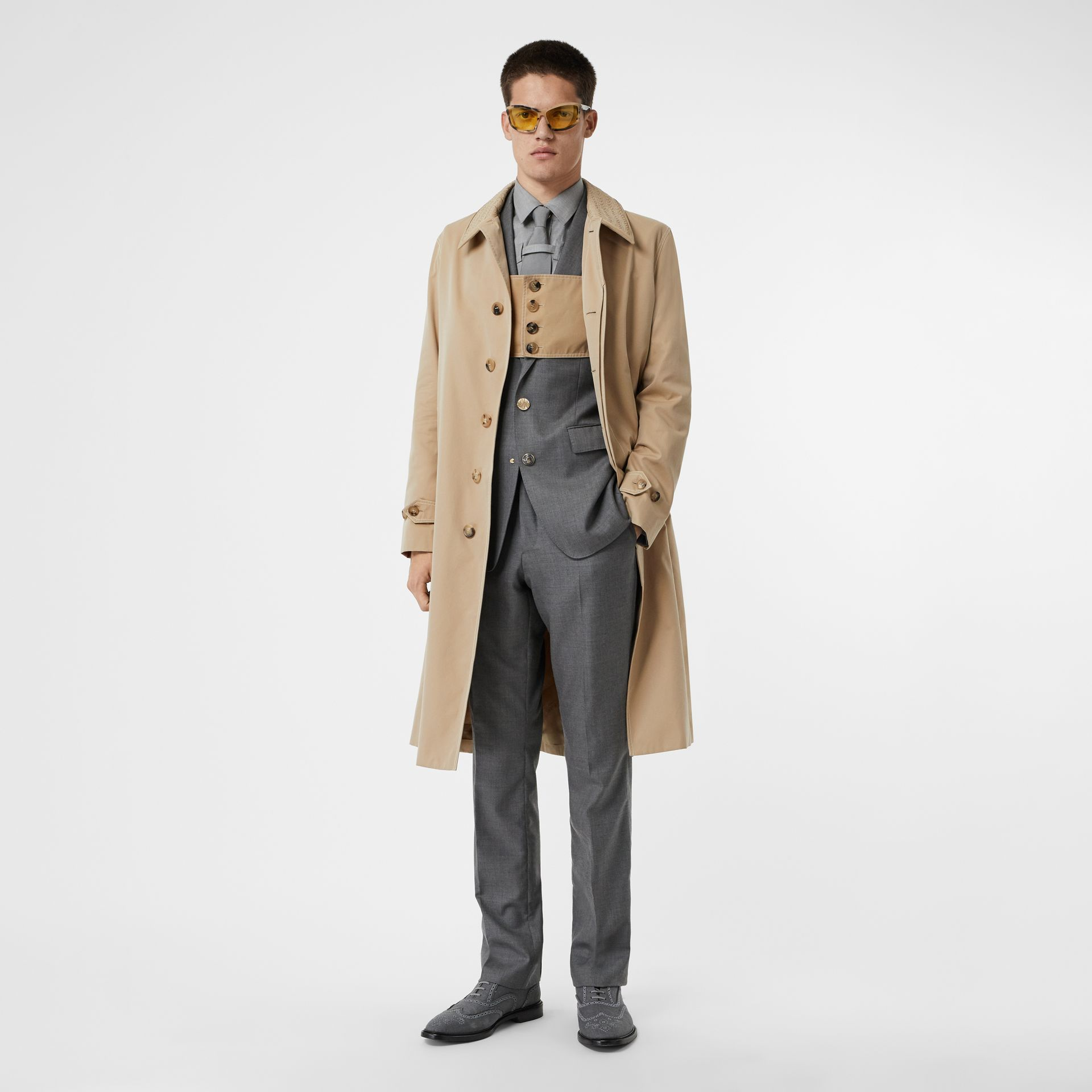 Linen Collar Button Panel Cotton Car Coat in Honey | Burberry Australia - gallery image 0