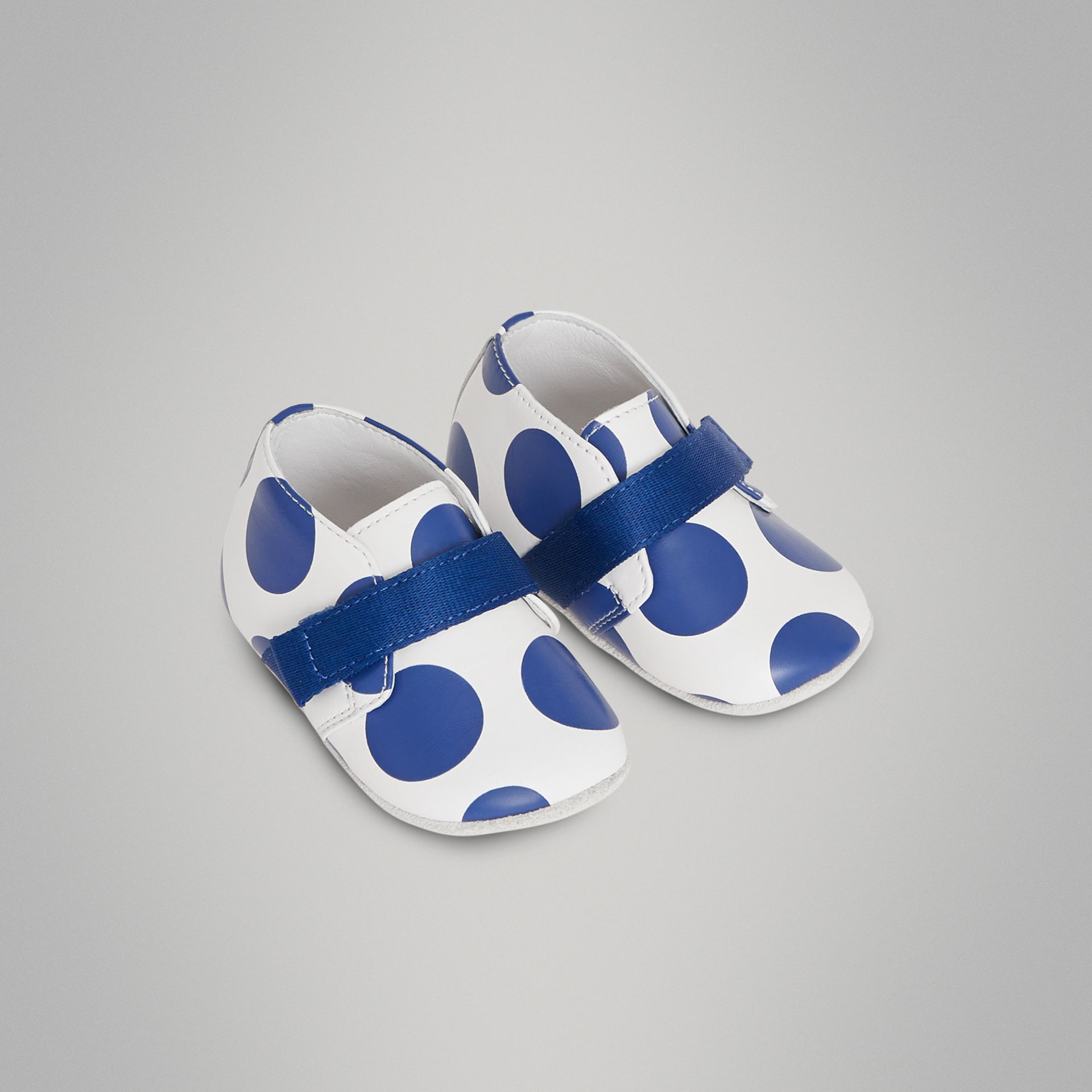 Spot Print Leather Shoes in Bright Blue - Children | Burberry Australia - gallery image 0