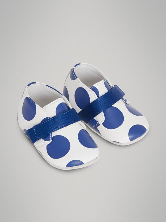 Spot Print Leather Shoes in Bright Blue