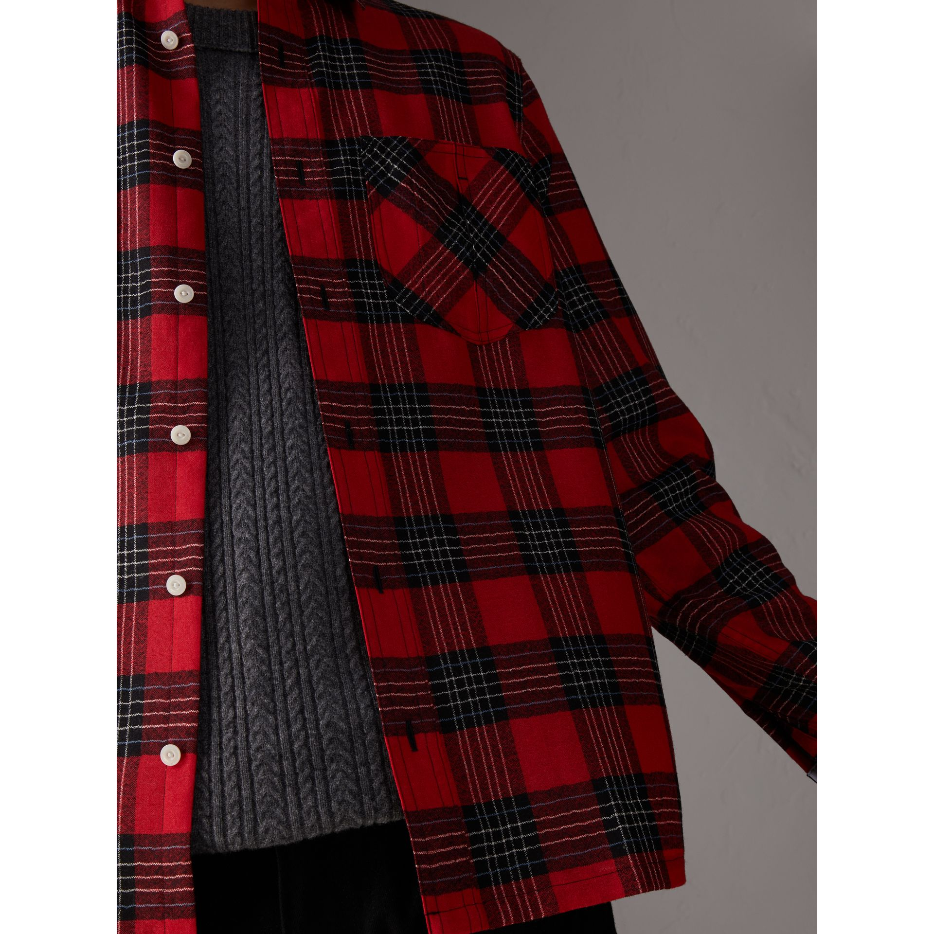 Tartan Wool Shirt in Parade Red - Men | Burberry - gallery image 2