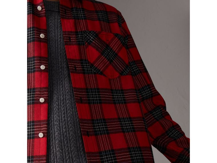 Tartan Wool Shirt in Parade Red - Men | Burberry - cell image 1