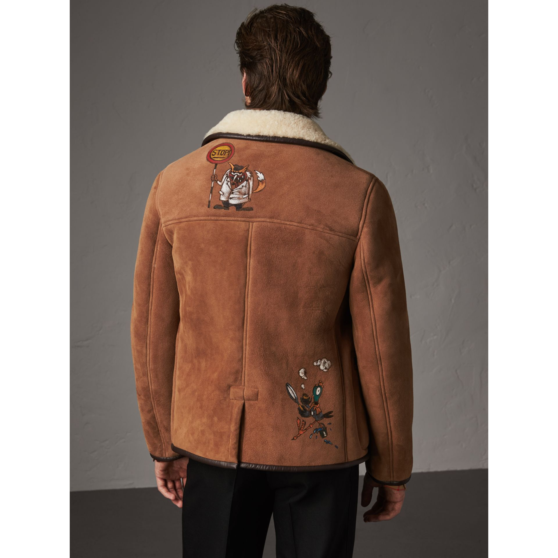 Sketch Print Shearling Jacket in Biscuit - Men | Burberry - gallery image 3
