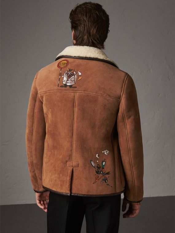 Sketch Print Shearling Jacket in Biscuit - Men | Burberry United Kingdom - cell image 2