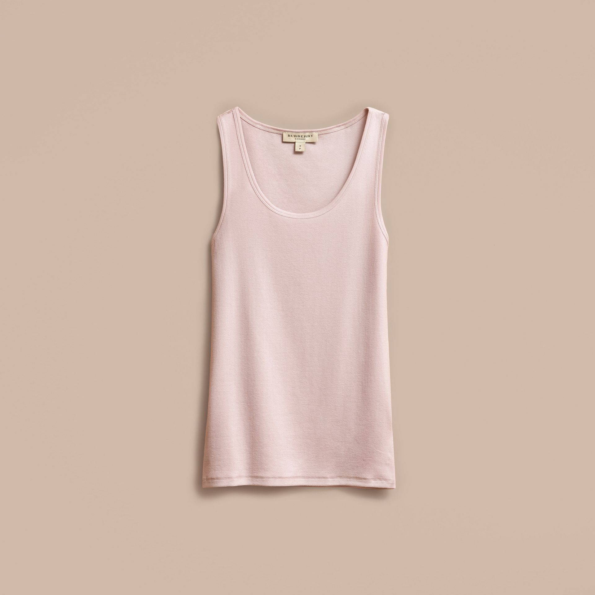 Stretch Cotton Lyocell Vest in Pale Pink - gallery image 4