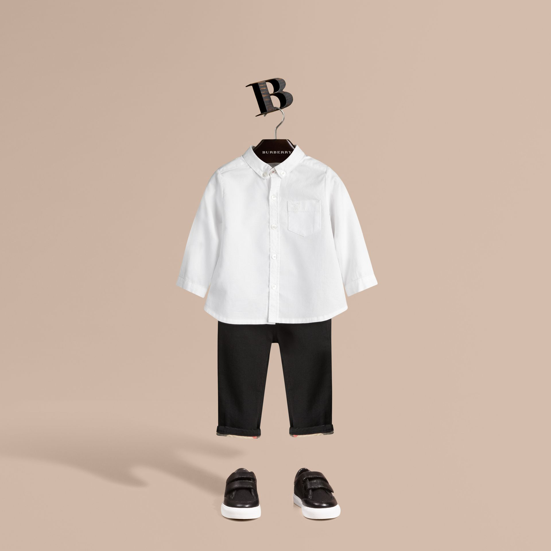 Cotton Oxford Shirt in White - Boy | Burberry United States - gallery image 1