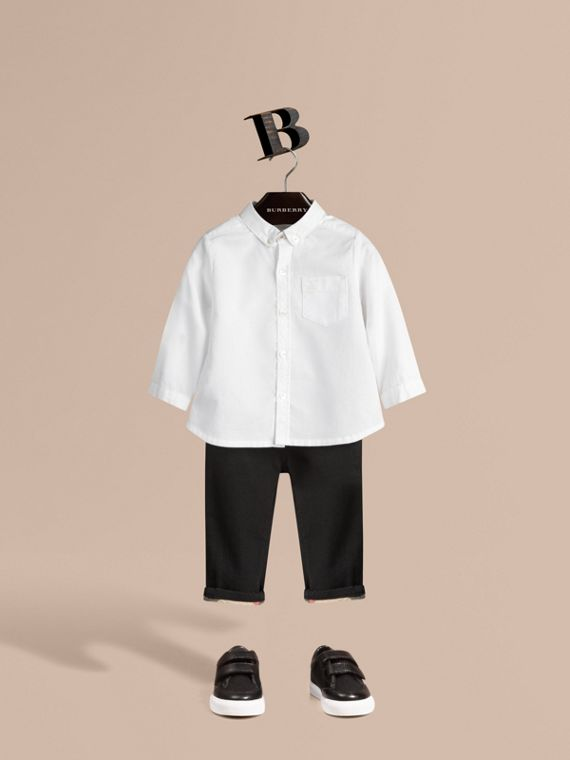 Cotton Oxford Shirt in White - Boy | Burberry