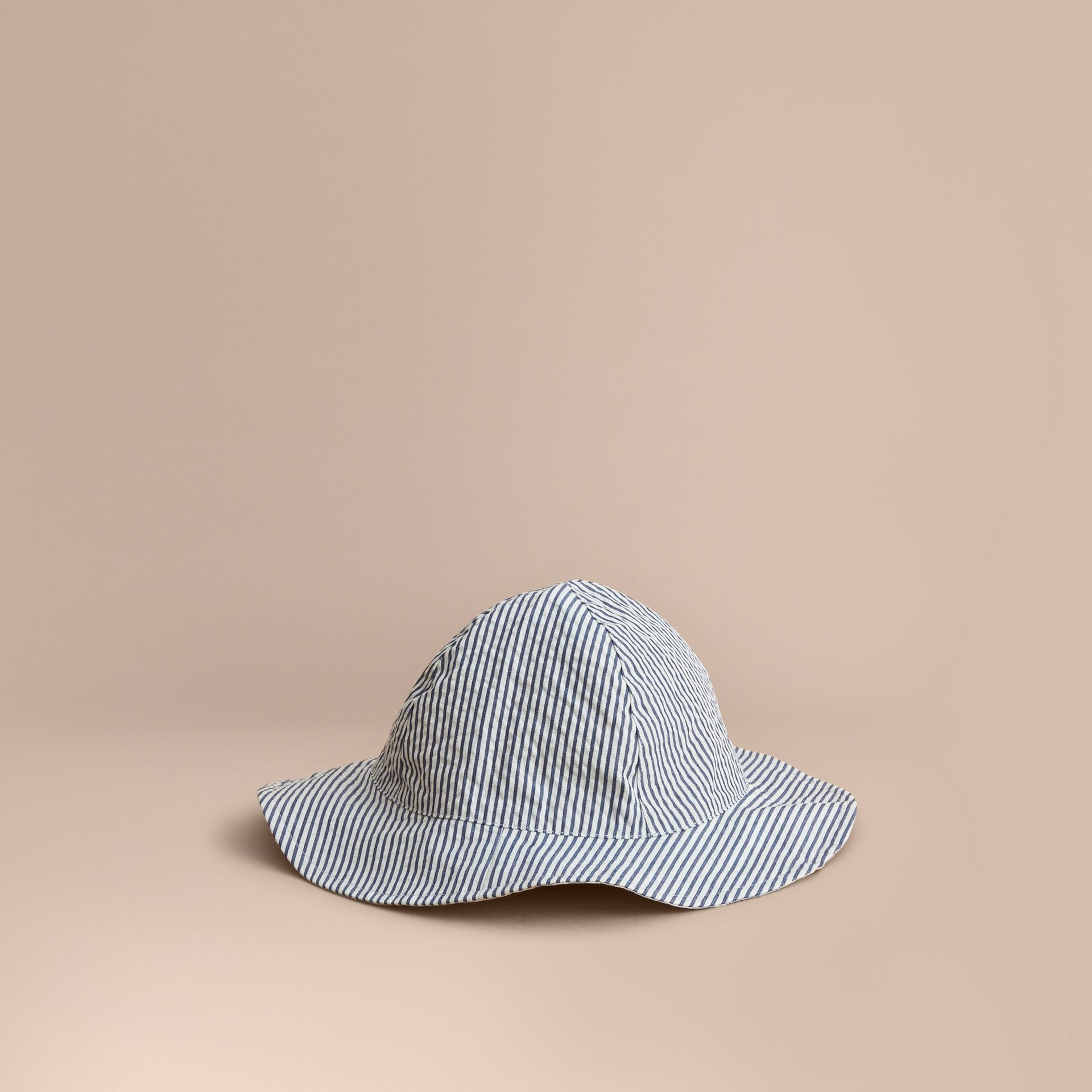 Reversible Stripe and Check Sun Hat in Indigo | Burberry - gallery image 1