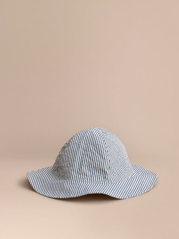 Reversible Stripe and Check Sun Hat in Indigo