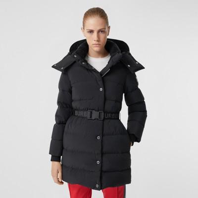 Detachable Hood Belted Puffer Coat in Black Women | Burberry
